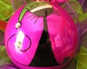 Holiday Cat.... Whimsical Hand Painted Ornaments