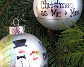 Our 1st Christmas as Mr. & Mrs..... Whimsical Hand Painted Ornament