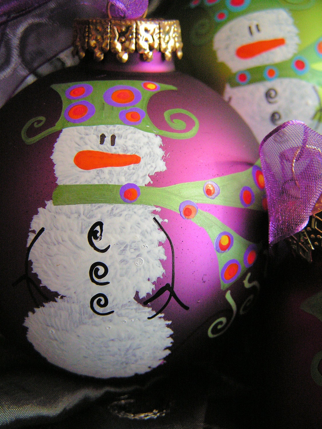 snowman whimsical hand painted ornament