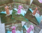 Set of 5 Vintage French postcards Woman Fishing