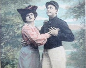 Antique French postcard with humorous caption, postman RPPC tinted