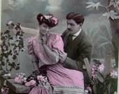 1908 Antique French couple postcard, Sent to Paris