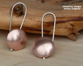 Banjo Earrings in Copper/ Linsen-Ohrhänger aus Kupfer
