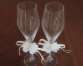 Crystal Flutes Champagne Toasting Wedding Ivory