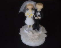 Wedding Cake Topper Ivory Bride and Groom