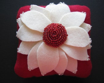 Wedding Ring Pillow Aster Flower Ivory Red
