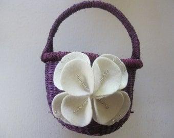 Flower Girl Basket Wedding Purple Ivory