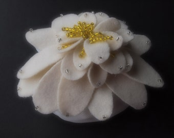 Cake Topper Wedding Ivory Yellow Water Lily  Flower