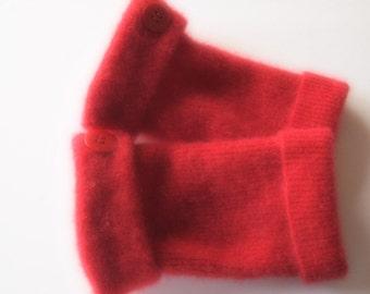 Fingerless Gloves Cashmere Red