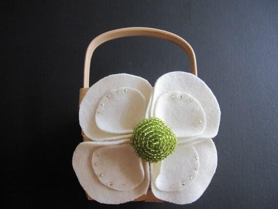 Flower Girl Baskets Green : Flower girl basket wedding ivory green
