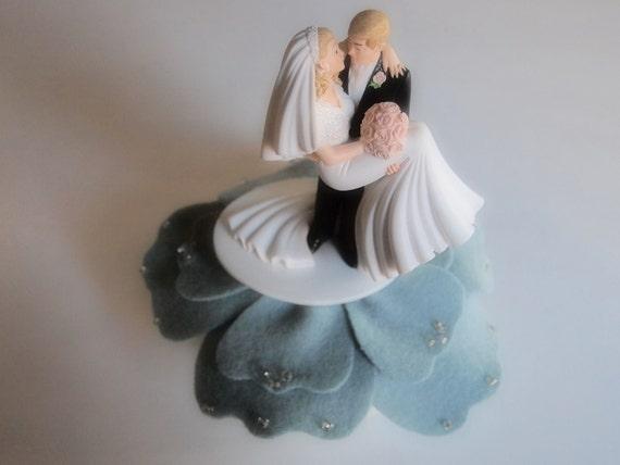 Wedding Cake Topper Bride Groom Blue Gold Anemone Flower