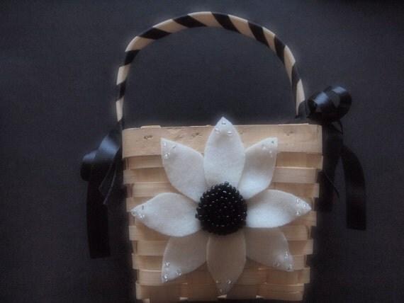 Flower Girl Basket Wedding Black Ivory