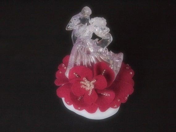 Wedding Cake Topper Fuschia Pink Bride and Groom