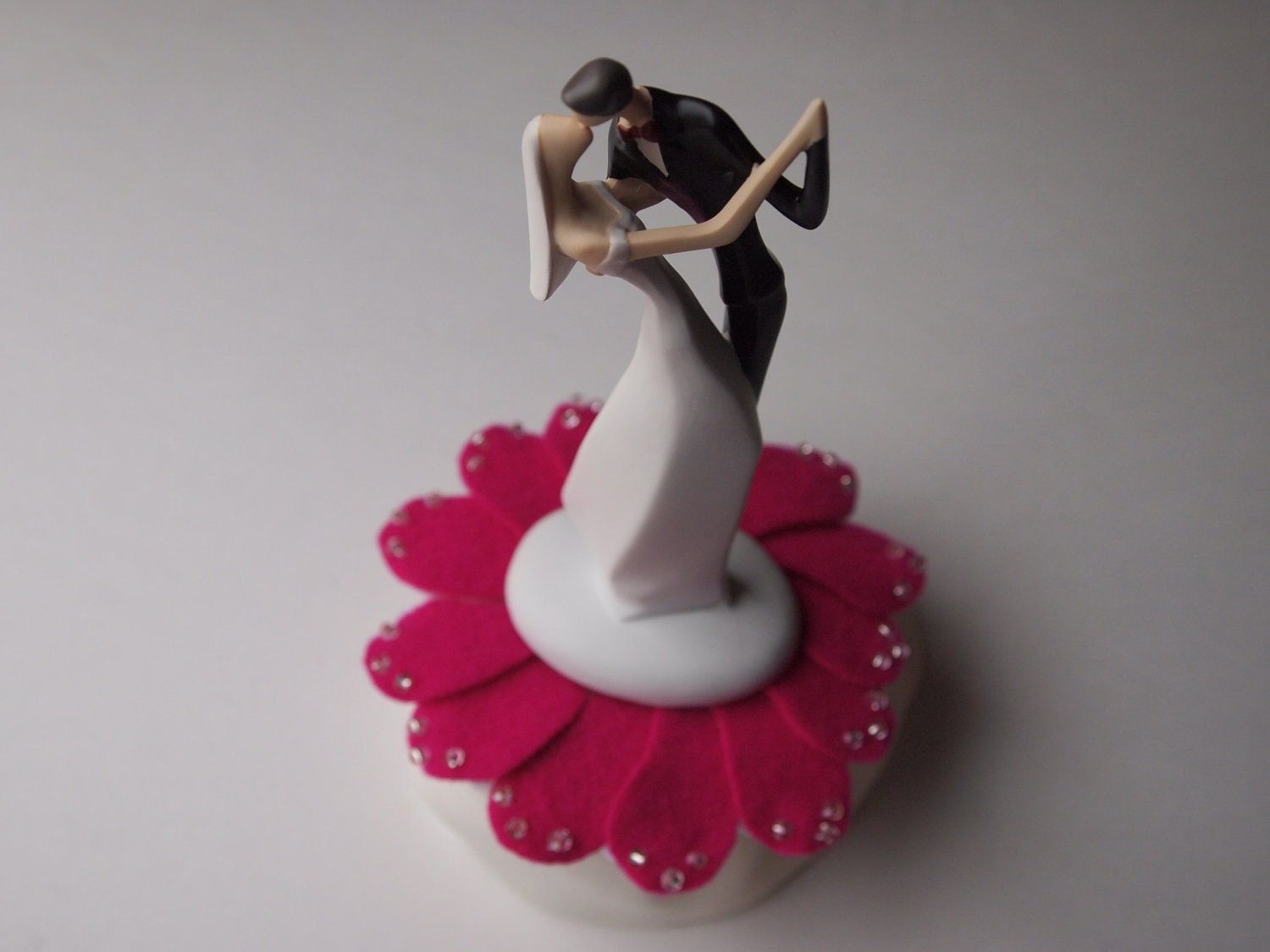 Cake Topper Wedding White Hot Pink Bride and Groom
