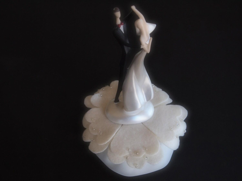 Wedding Cake Topper Ivory Bride Groom by ArtisanFeltStudio