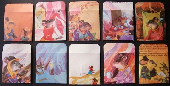 Upcycled Handmade Envelopes and Cards set of 10 illustrated childrens book