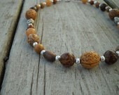 Wooden Nut Necklace: Wooden Beaded Necklace, Wooden Necklace, Wooden Bead Jewelry, Earthy, Brown, Natural, Woodland, OOAK, Silver