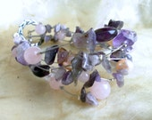 bracelet - amethyst, rose quartz and pearls - 21 cm