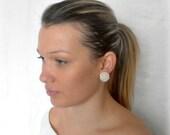 Clip earrings, hand-sewn on buttons, white freshwater pearls, bridal beaded earrings, pearls earrings,