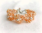 Freshwater Pearl Bridal Cuff, Infinity Styles, Wide Hand Knit Statement Bracelet, JUST PEARLS,  pink peach .  Wedding Jewelry