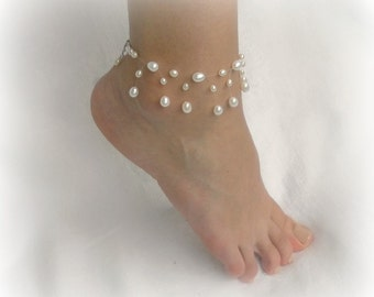 Illusion Pearl Ankle Bracelet, bridesmaid anklet, bridal anklet, Floating Pearl, white Freshwater Pearl, silver sterling clasp