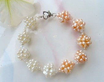 Pearl bracelet, pearl wedding bracelet, White and pink , Freshwater Pearl -Perfect For Brides Bridesmaids