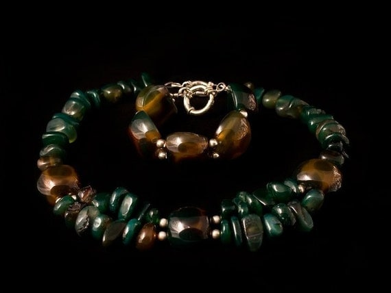 Natural Agate necklace and bracelet, Sterling silver beads and clasps, green-brown agate, natural stones jewelry