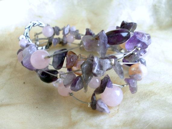 bracelet - amethyst, rose quartz and pearls - 21 cm