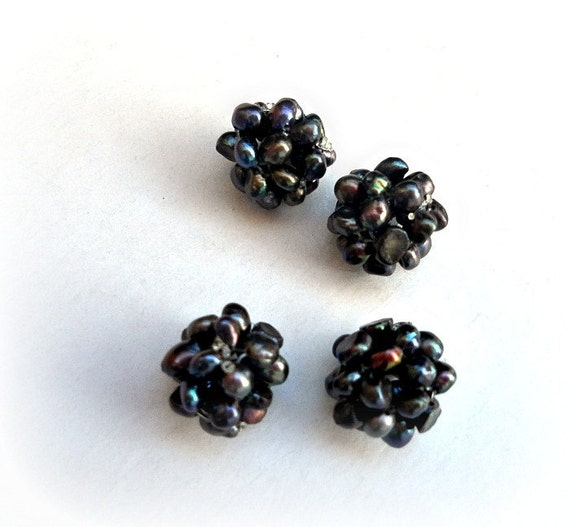 Blackberries-Handmade Findings,, Hand Woven Fresh Water pearls ball 12-13 mm - 4 pcs