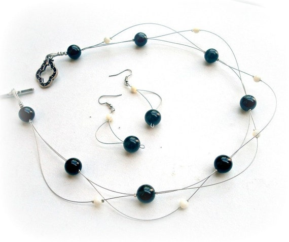 Wedding  set, floating necklace and earrings, black onyx  and mother of pearls,  bridesmaid, modern jewelry,unusual jewelry