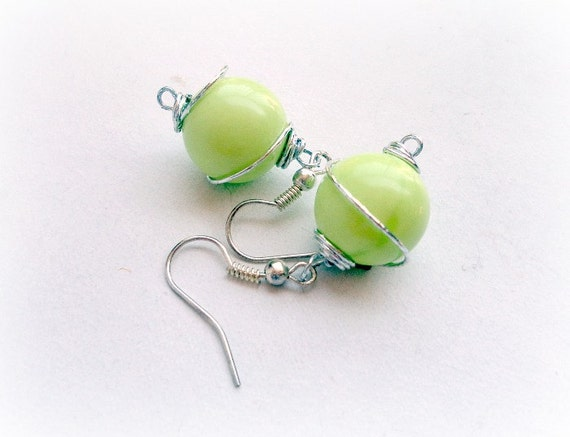 GreenTurquoise ball  Earrings -Wire Wrapped -handmade earrings- style round ball wire wrapped dangle earrings