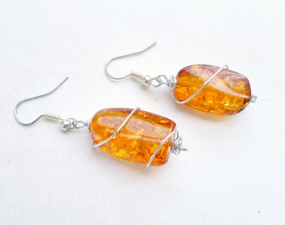 Amber  Earrings -Wire Wrapped -handmade earrings- style round ball wire wrapped dangle earrings