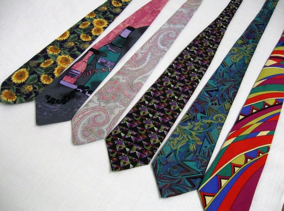 Six Vintage Ties ranging from sunflowers and German vodka to vibrant graphics and silk Gianni Versace
