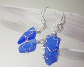 cobalt blue sea glass wire wrapped earrings