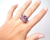 swarovski crystal stretch cluster ring purple, pink, gray OOAK one size fits all