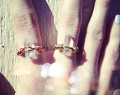 Mini Crystal Quartz Wire Wrapped Ring // Copper OR Gold // Jewelry