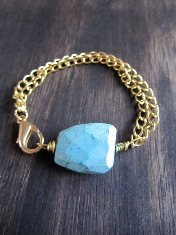 Turquoise Love & Chain Bracelet // Jewelry