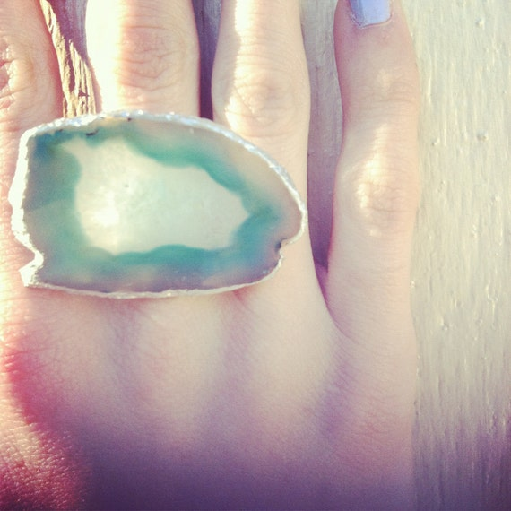 Mint Agate Slice Ring // Silver Leaf // Jewelry