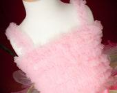 Light Pink Ruffled Petti Tank for girls, chiffon ruffle, Choose Size: 6mos-6yrs