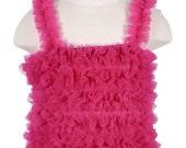 Hot Pink Ruffled Petti Tank for girls, chiffon ruffles: Choose 6Mos - 6yrs