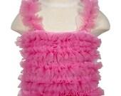 Pink Ruffled Petti Tank for girls, chiffon ruffles, Choose size: 6mos-6yrs
