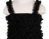 Black Ruffled Petti Tank for Girls, Chiffon Ruffles, for Children 6mos - 6yrs