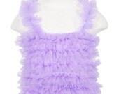 Lavender Ruffled Petti Tank for girls, chiffon ruffles, Choose from 6-9MOS - 6YR