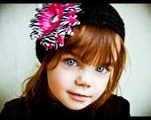 Black Beanie Hat, with Hot Pink Zebra Jewel Flower, 1-11 yrs