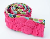 Camera Strap Cover- Brightly Colored Diamonds  with Pink Ruffles and Rosettes