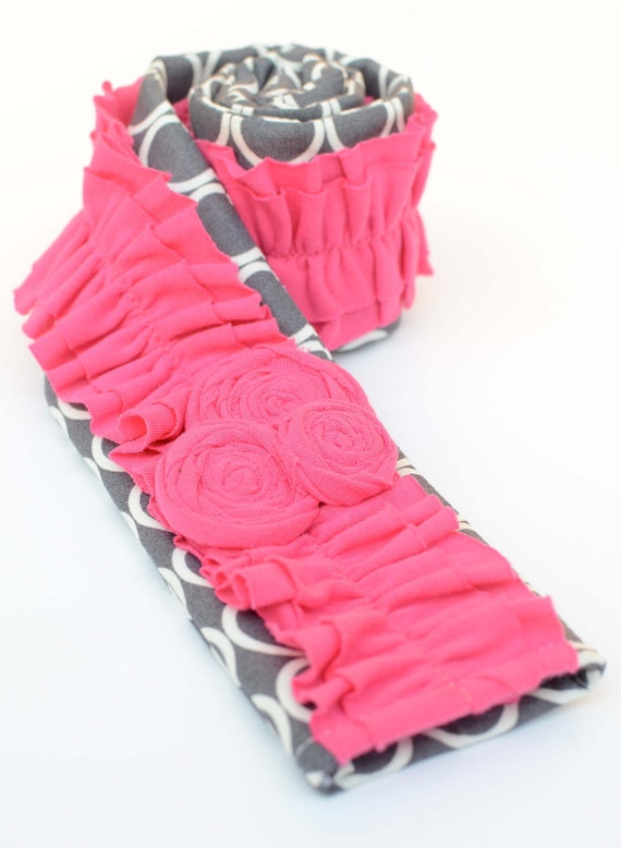 READY TO SHIP  Camera Strap Cover- Gray and White Polka Dot with Hot Pink Ruffles and Rosettes