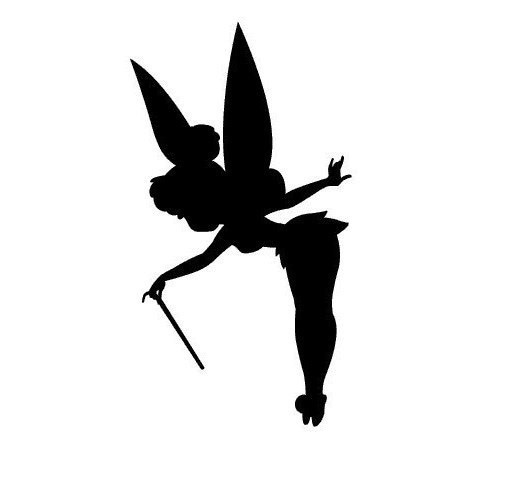 Clearance tinkerbell wall decal in black by mommyoftydesigns for Black and white tinkerbell