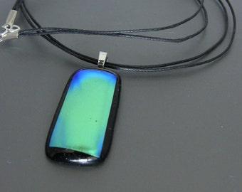 Black Dichrotic Fused Glass Pendant