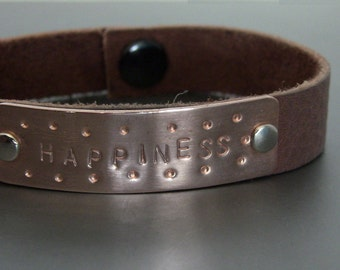 "Brown Leather Cuff bracelet with hand stamped Copper tag ""Happiness"""