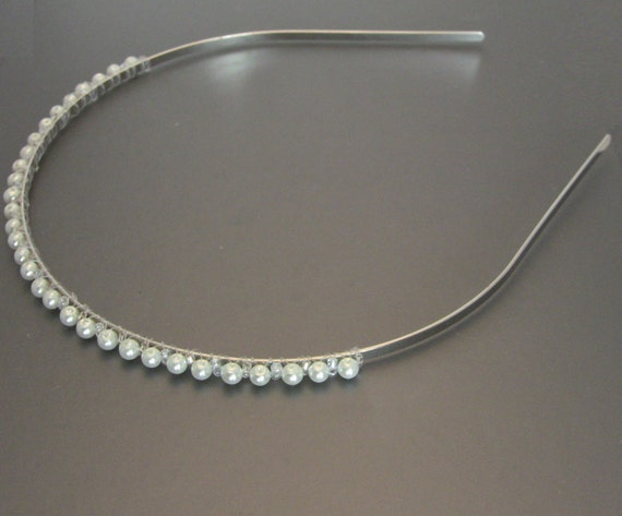 Silver Headband with White Glass Pearls & Seed Beads